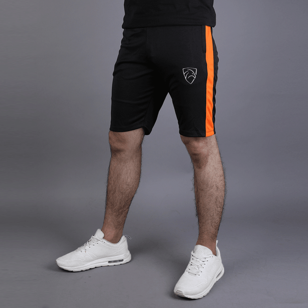 Black Hawk Series Shorts With Orange Panel - TeeFit Fashion