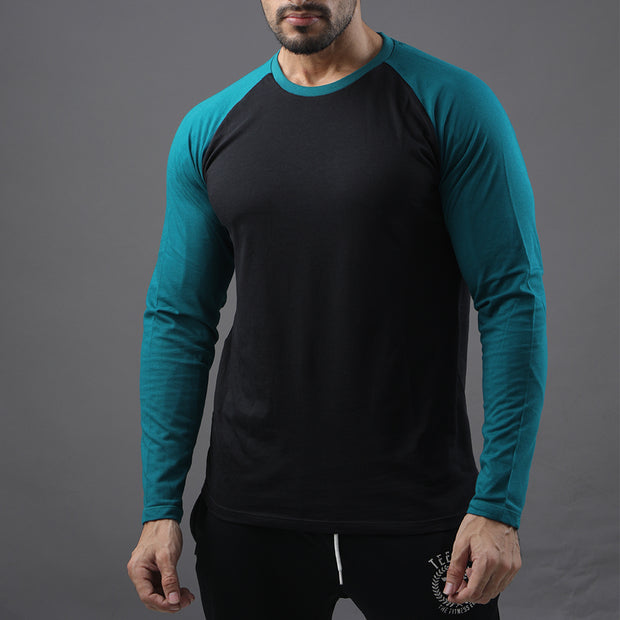 Black & Sea Green Raglan Tee