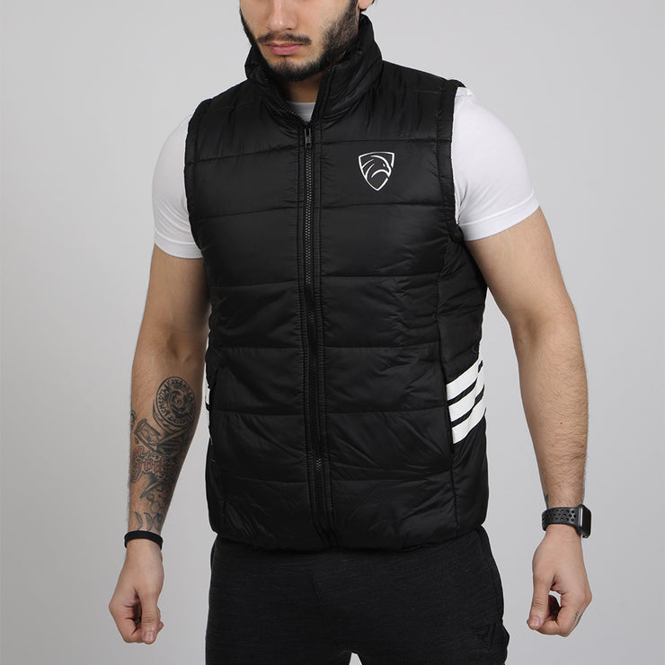Black Sleeveless Premium Puffer Mock Neck Jacket