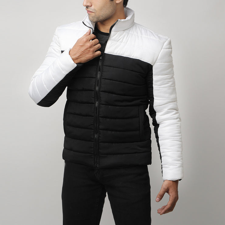 Black And White Premium Puffer Mock Neck Jacket