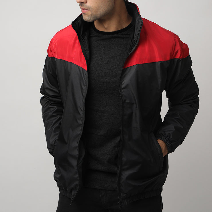 Black And Red Panel Performance Mock Neck Top