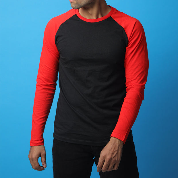 Black & Red Raglan Tee