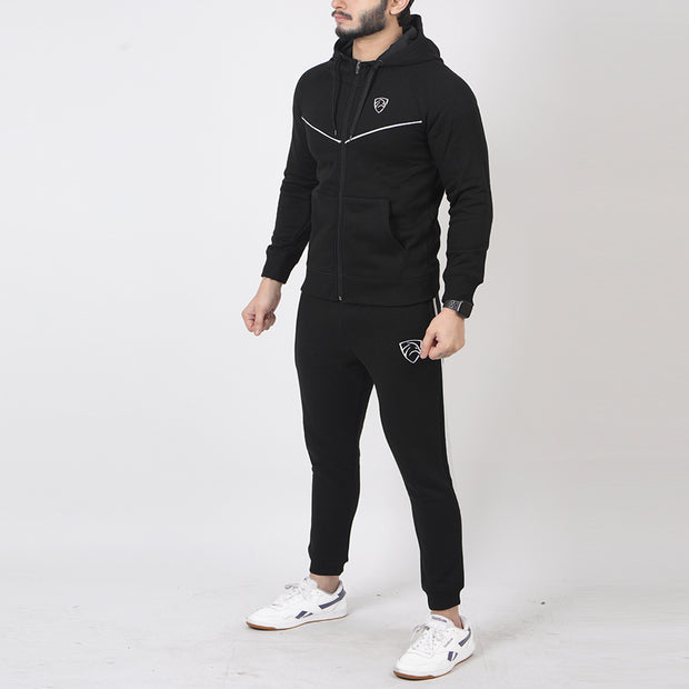 Black Fleece Tracksuit With V-Cut Piping
