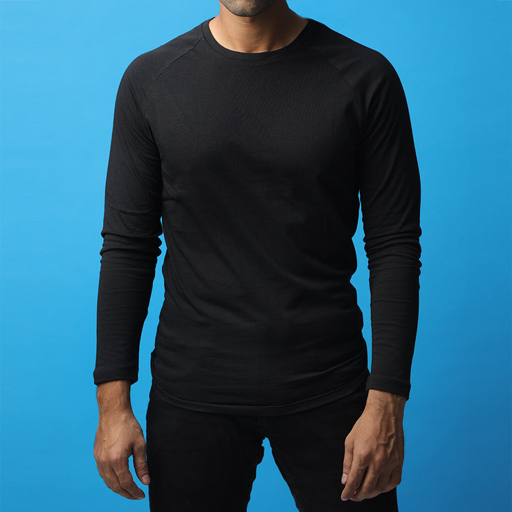 Black Long Sleeve Raglan Tee