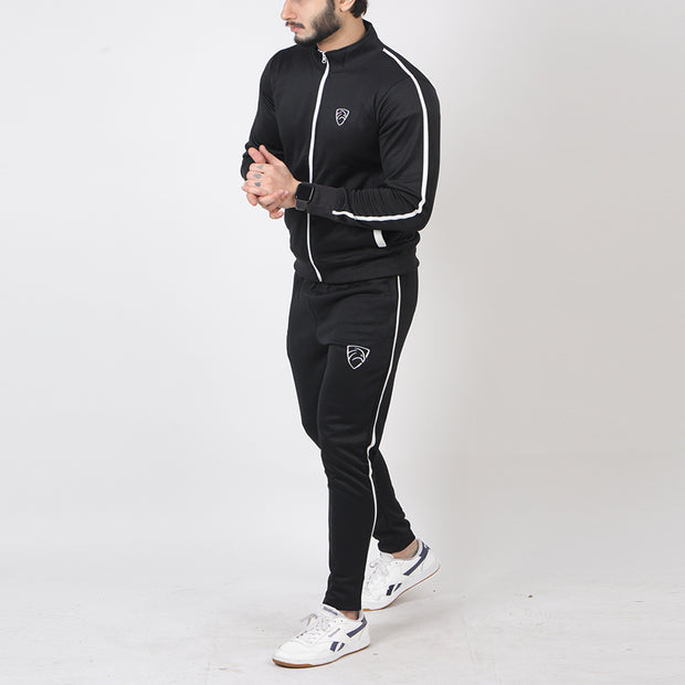 Black Poly Fleece Tracksuit With White Zip And Pipings