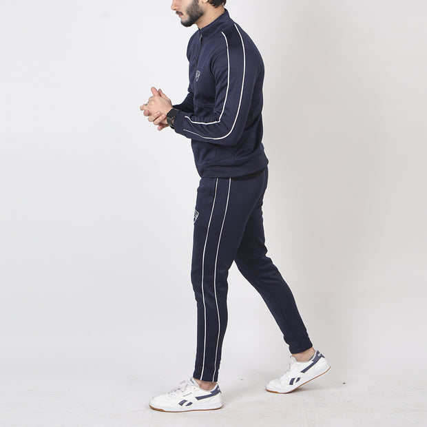 Navy Poly Fleece Tracksuit With Double Piping