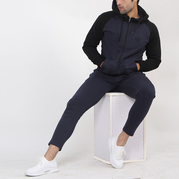 Navy And Black Fleece Tracksuit