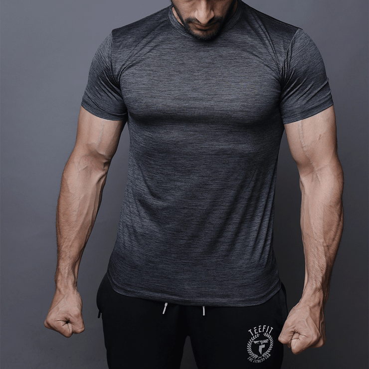 Quick Dry Charcoal Textured Tee - TeeFit Fashion
