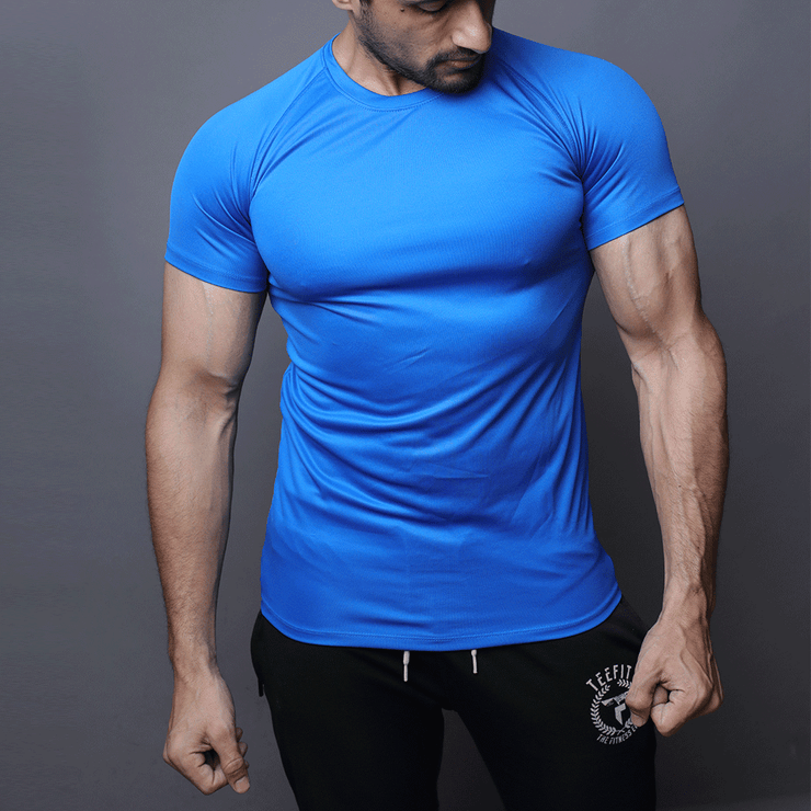 Blue Half Sleeve Compression Tee - TeeFit Fashion