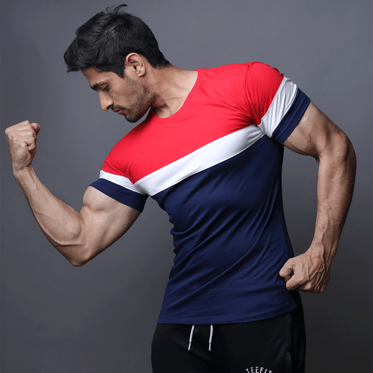 Red, White And Navy Panel Half Sleeve Tee - TeeFit Fashion