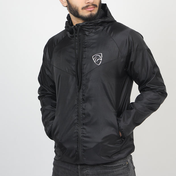 All Black Wind Crusher Zipper Hood