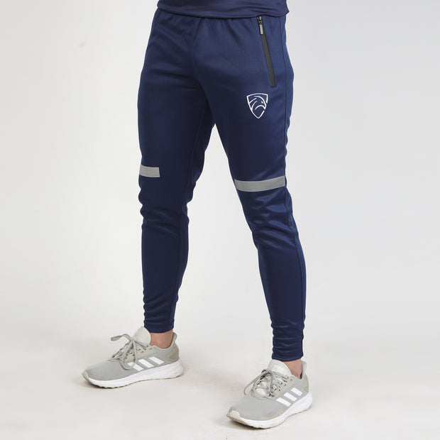 Navy Interlock Bottoms With Reflective Front Stripe