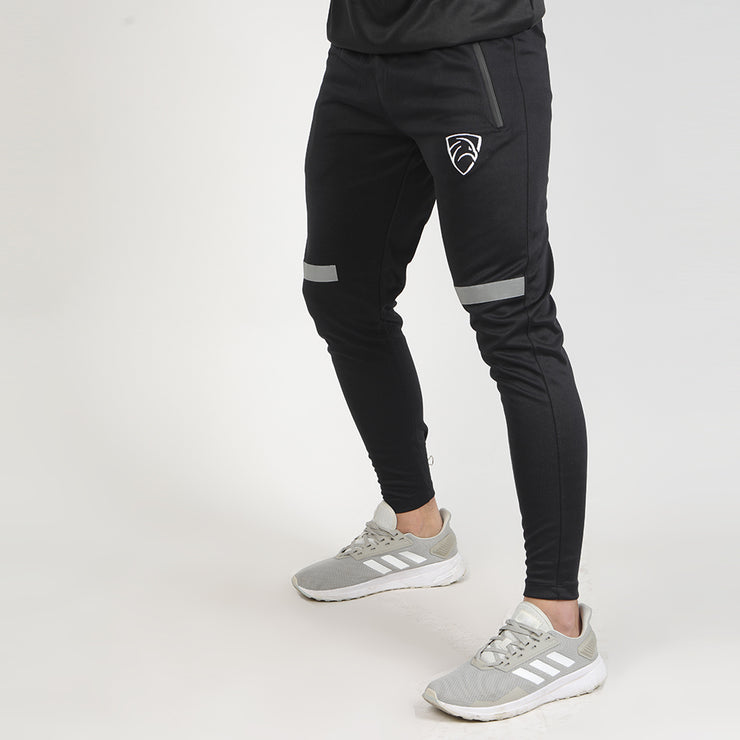 Black Interlock Bottoms With Reflective Front Stripe