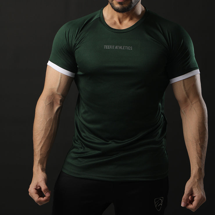 Green Performance Tee With White Ribs