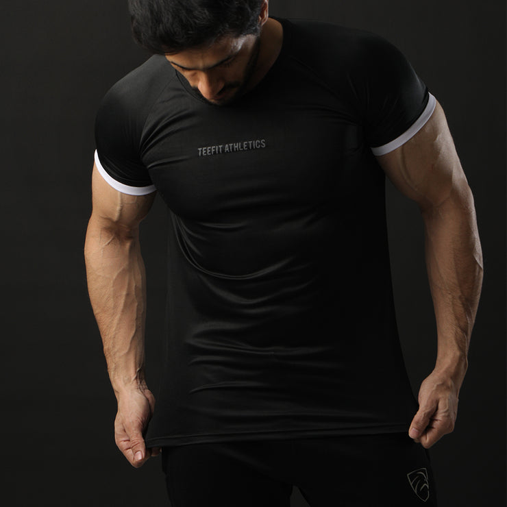 Black Performance Tee With White Ribs