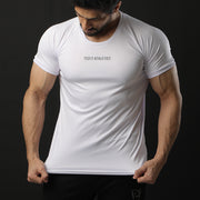White Performance Tee With White Ribs