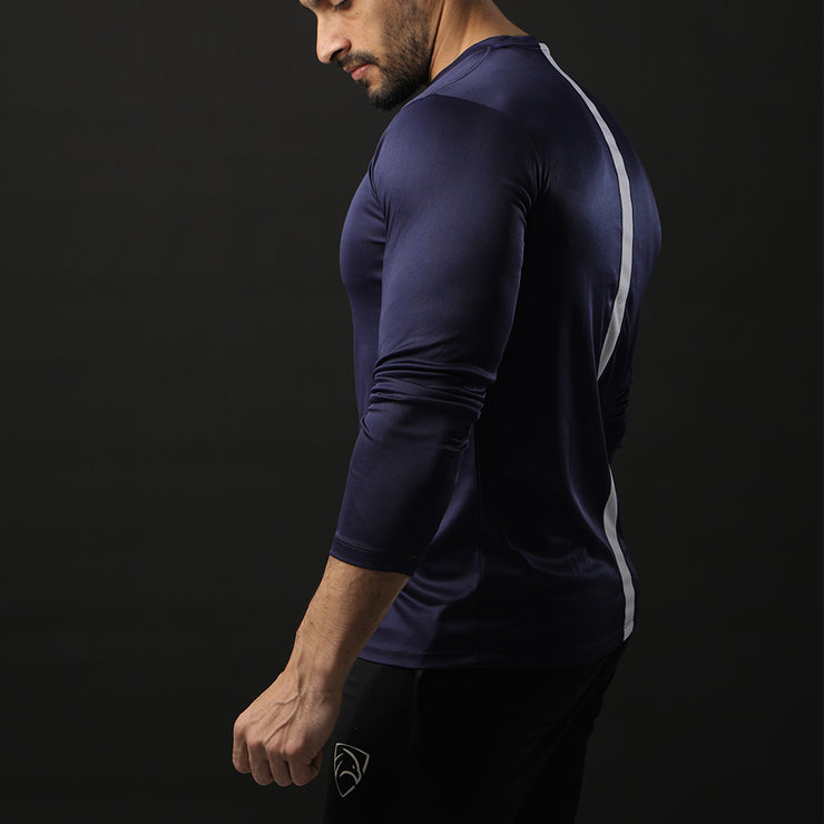 Navy Full Sleeve Performance Tee With White Back Panel