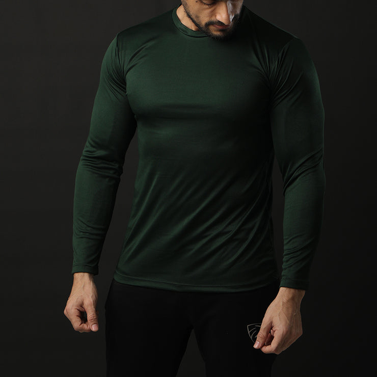 Green Full Sleeve Performance Tee With White Back Panel