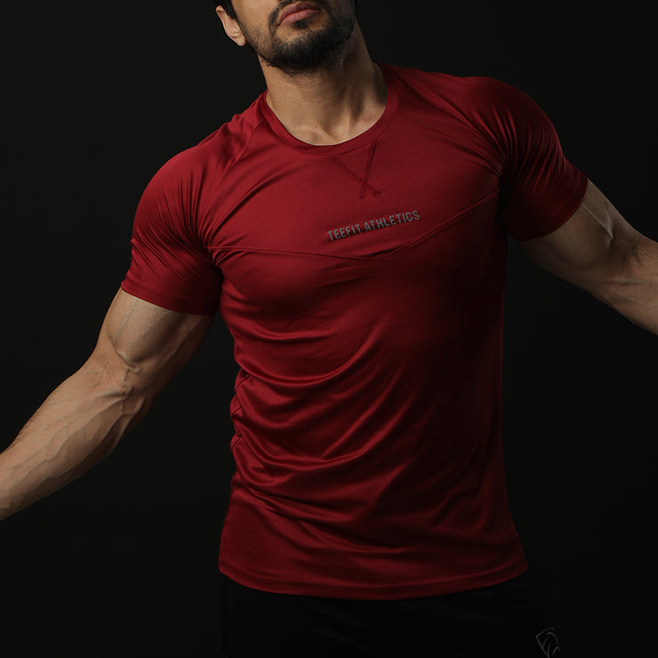 Maroon Teefit Athletics Performance Tee