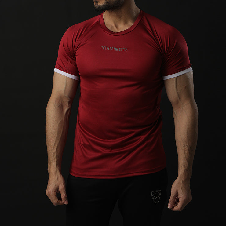 Maroon Performance Tee With White Ribs