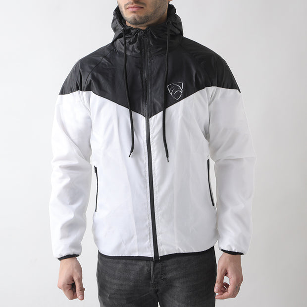 Black And White Wind Crusher Zipper Hood