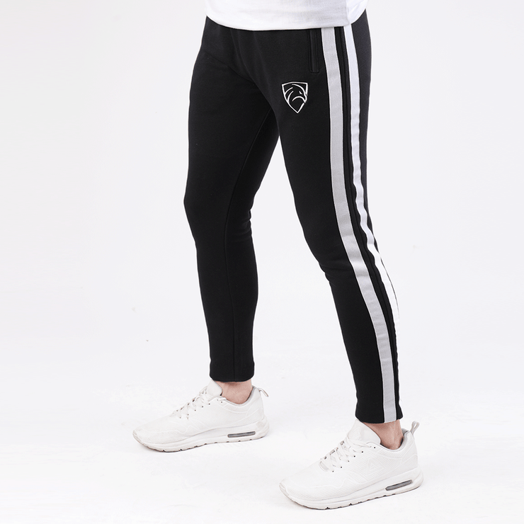 Tf-Tapered Black With Two White Side Stripes - TeeFit Fashion