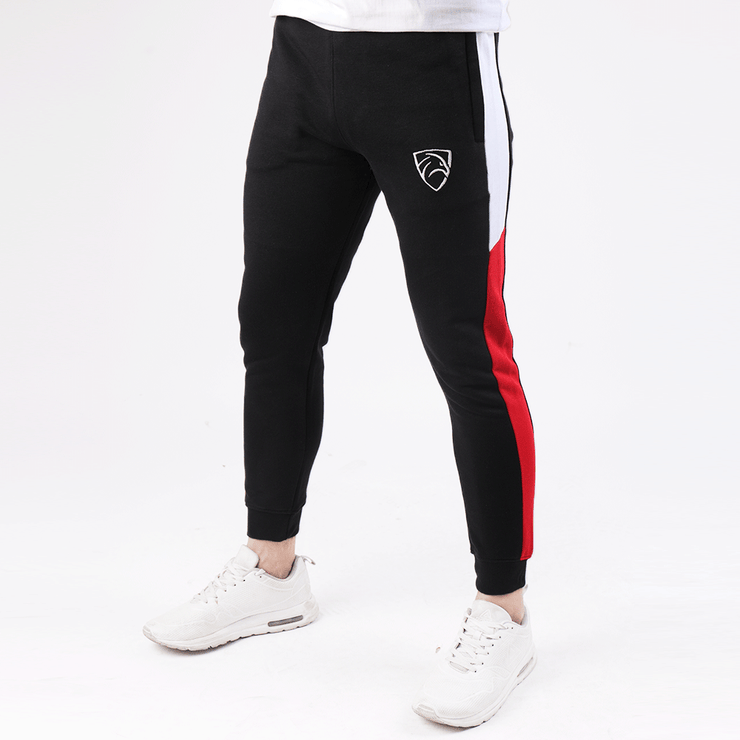 Tapered Black With Red And White Panel - TeeFit Fashion