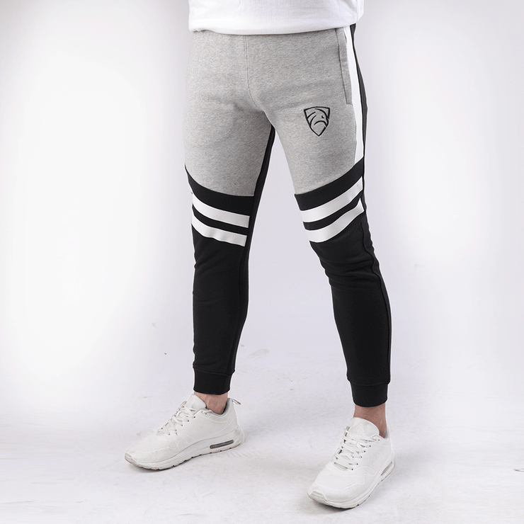 Grey And Black Tapered Bottoms With Front Stripes - TeeFit Fashion