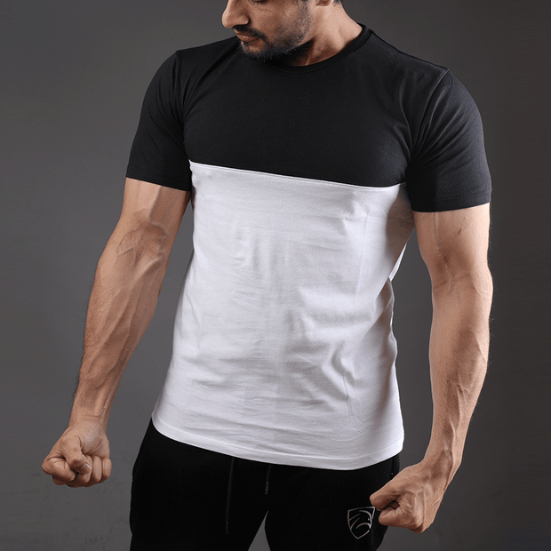 Black And White Two Tone Half Sleeve Tee - TeeFit Fashion