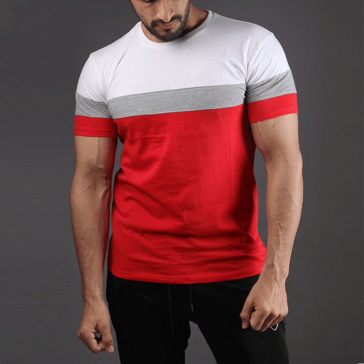 White, Grey And Red Panel Half Sleeve Tee - TeeFit Fashion