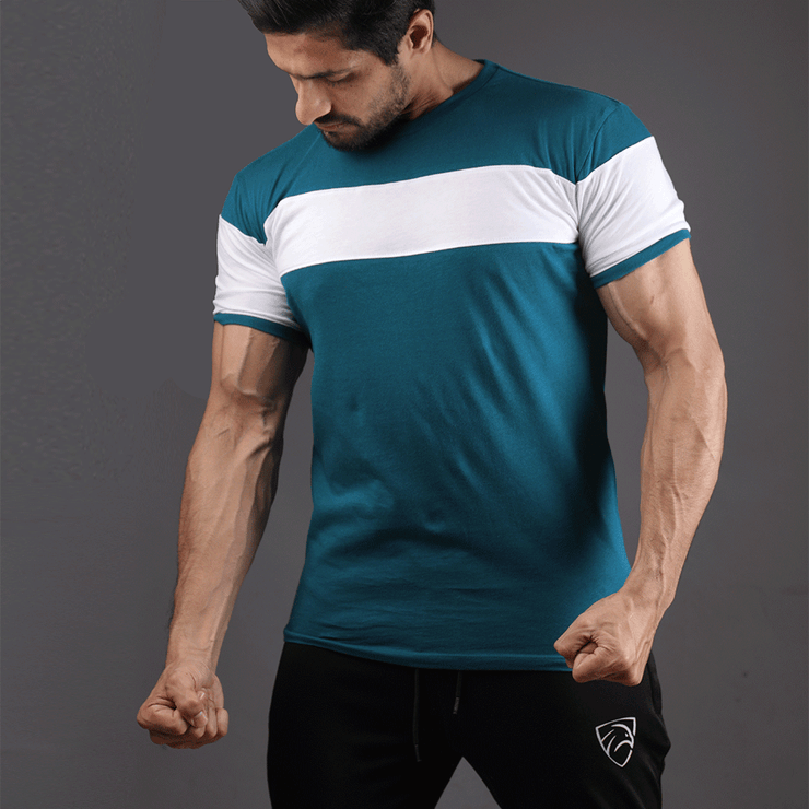 Teal Green Tee With White Chest Panel - TeeFit Fashion