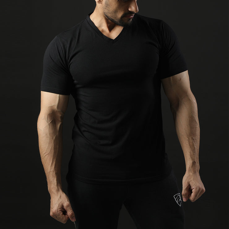 Tf-Premium Black Half Sleeve V-Neck
