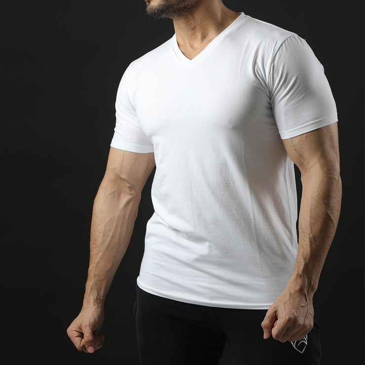 Tf-Premium White Half Sleeve V-Neck