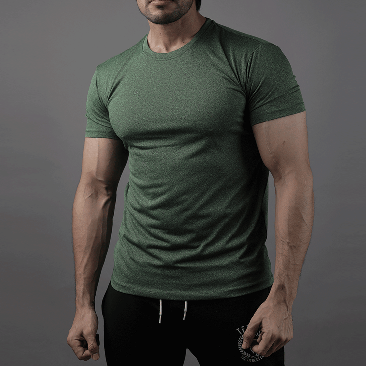 Quick Dry Green Textured Tee - TeeFit Fashion