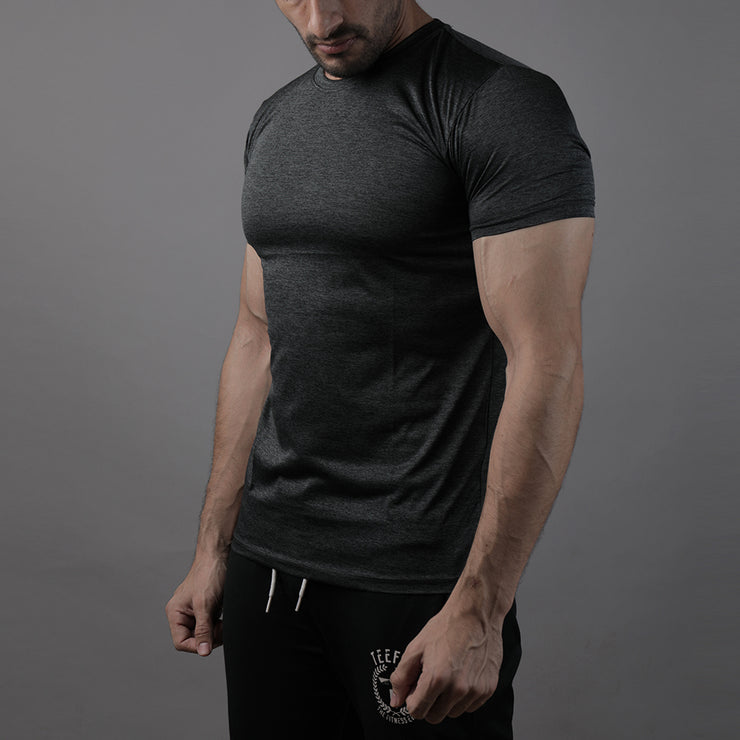 Quick Dry Dark Charcoal Textured Tee