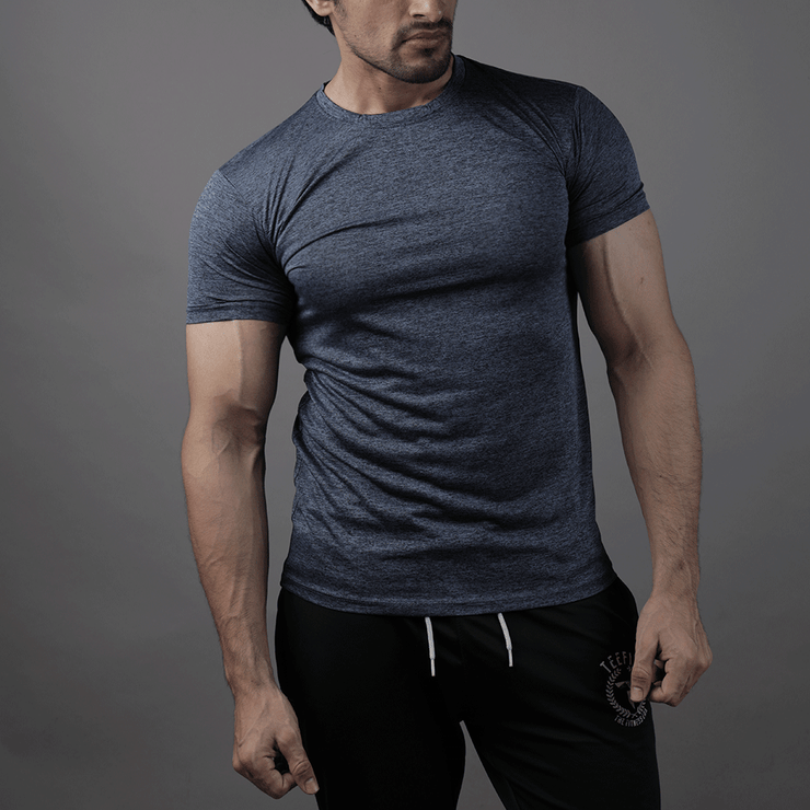 Quick Dry Teal Blue Textured Tee - TeeFit Fashion