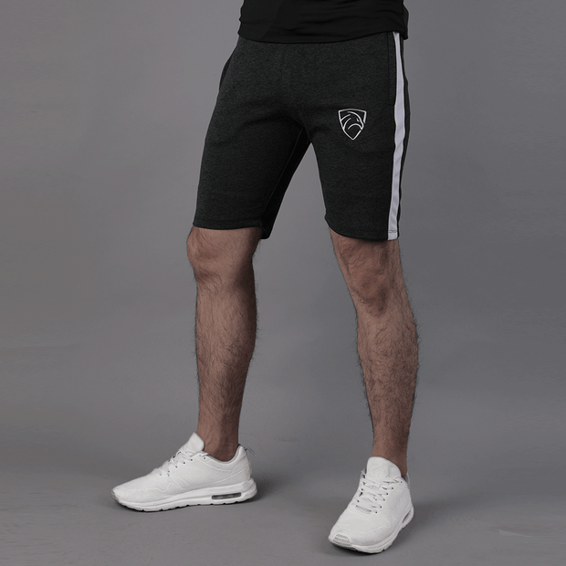 Quick Dry Textured Black Shorts With White Panel - TeeFit Fashion