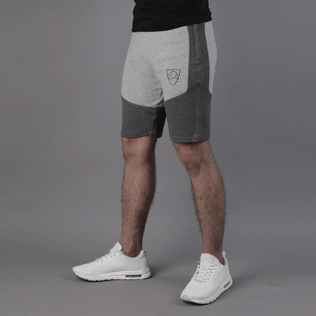 Grey & Charcoal Panel Shorts - TeeFit Fashion