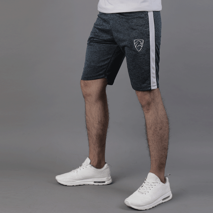 Quick Dry Textured Charcoal Shorts With White Panel - TeeFit Fashion