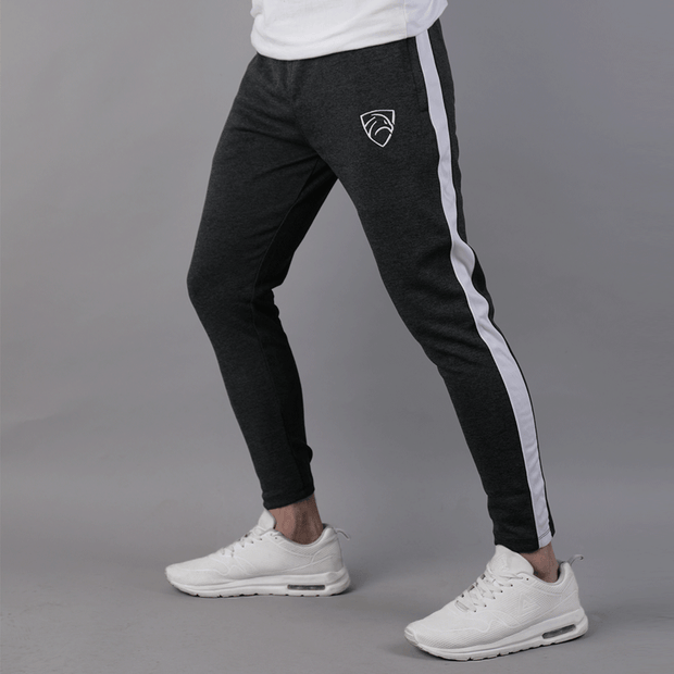Quick Dry Dull Black Bottoms With White Mesh Panel - TeeFit Fashion