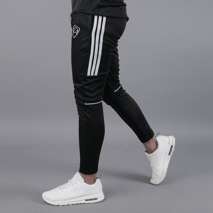 Black Three Stripes Hawk Series Bottoms With Piping - TeeFit Fashion