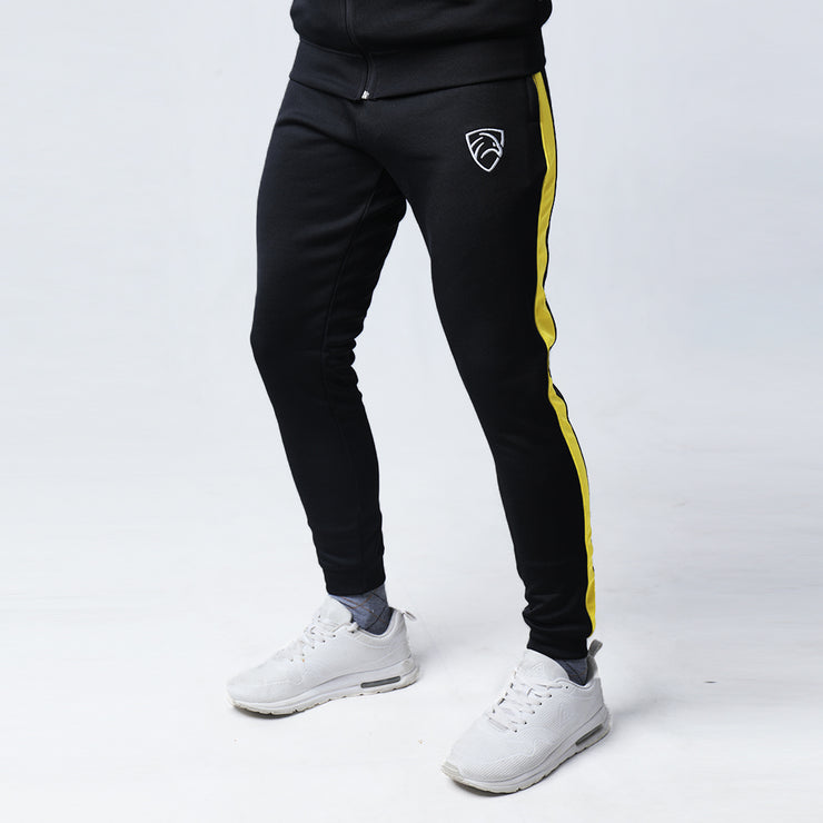 Black Interlock Tracksuit With Side Yellow Panel