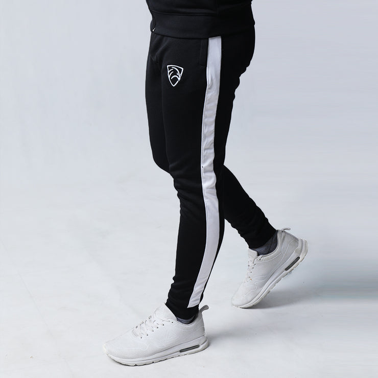 Black Interlock Bottoms With White Stripe