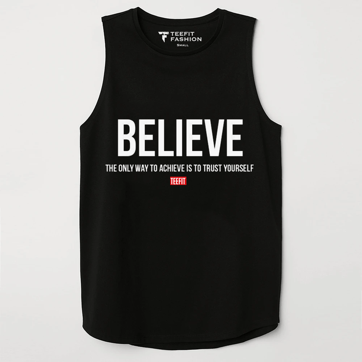 Believe Black Sleeveless Top - TeeFit Fashion