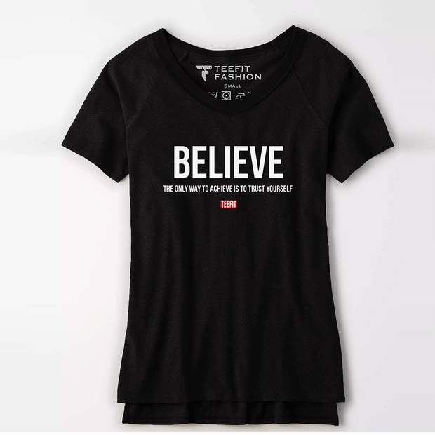 Believe Women Half Sleeve Tee - TeeFit Fashion