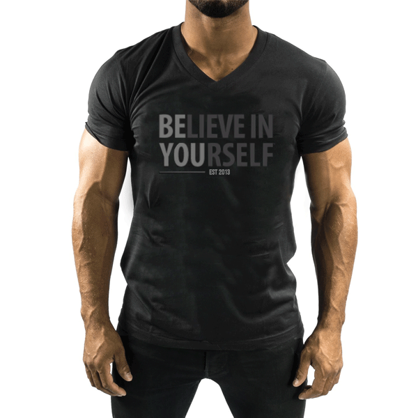 Believe In Yourself Black V-Neck