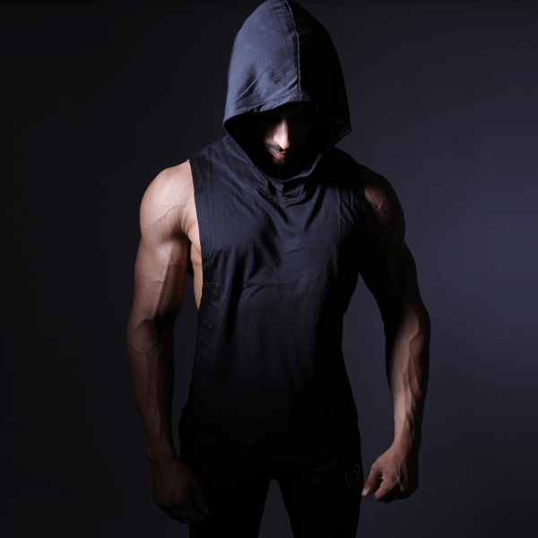 Black Deep Cut Hoodie Tank Top