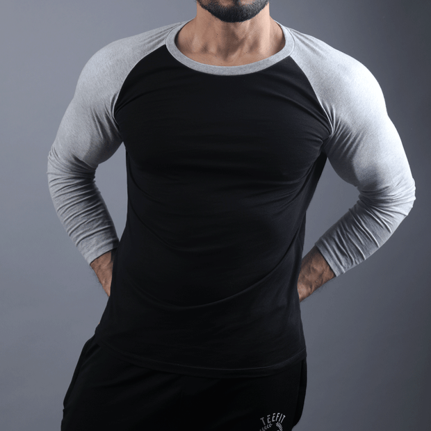 Black & Grey Raglan Tee - TeeFit Fashion