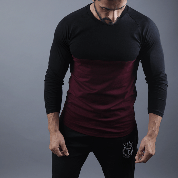 Black & Maroon Two Tone Raglan Tee - TeeFit Fashion