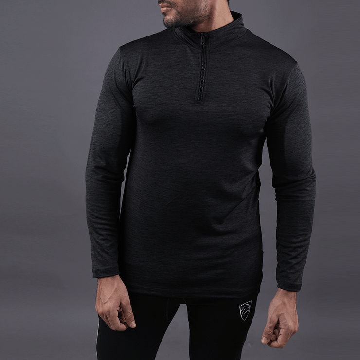 Limited Edition Quick Dry Melange Black Zipper Top - TeeFit Fashion